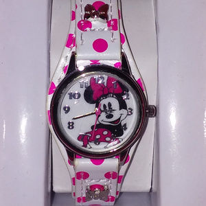 DISNEY MINNIE MOUSE PINK POLKA DOT LEATHER WATCH